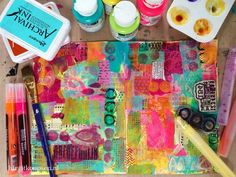 Home is where the heart is - birgit koopsen - stage 3 --And more collage paper... I have a big pile of colorful deli paper on which I stamped and stenciled while gelli printing and they are perfect for collage!