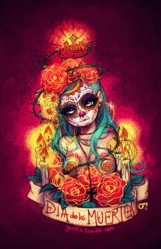Felíz Día de los Muertos!!! A sketch that went too far color wise, but still a sketch non the less. I really like the decorations and spirit people have on this festivities. Every character have mandatory undercut xD