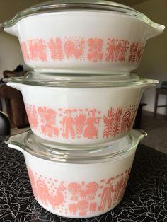 RARE Vintage Pyrex Pink Butterprint Caserole Dish Set (1950s) | Pottery & Glass, Glass, Glassware | eBay!