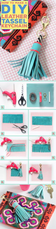 5 easy (and cheap) ways to rock tassels and pompoms this summer - - Grab a glue gun and upgrade an old key chain to a leather tassel that will make a cute accessory for a wallet. I Spy DIY shares how to make this cute DIY accessory. Diy Leather Tassel Keychain, Diy Tassel, Diy Keychain, Leather Craft, Tassels, I Spy Diy, Diy Accessoires, Passementerie, Purse Organization