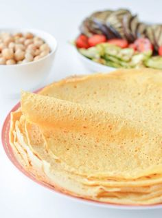 Chickpea crepes are delicious thin vegan and gluten free protein wraps made with only 3 ingredients: garbanzo bean flour, water and salt.