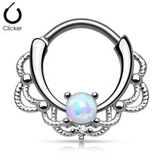 Quantity: 1 piece Material: 316L stainless steel / rhodium plated brass Opal: synthetic Gauge: 16g (1.2mm) Inner Width: 10.3mm Inner Height: 11mm Outer Width: 17.3mm Outer Height: 17mm
