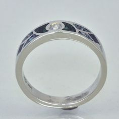14k White Gold Mosaic Malachite Opal Sugilite Inlay and Diamond Ring   JewelerJim - Jewelry on ArtFire