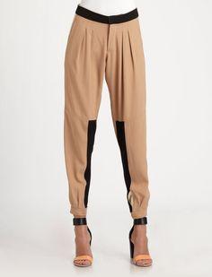 Bicolor Crepe Pants