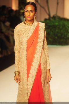 Meera Muzaffar Ali at India Bridal Fashion Week (IBFW) 2013 long jacket on Saree look