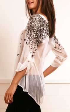 Elizabeth and James White Chiffon Blouse with Silver Discs