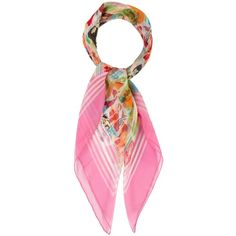 Pre-owned Chanel Silk Chiffon Scarf (3,465 EGP) ❤ liked on Polyvore featuring accessories, scarves, pink, chanel scarves, pink scarves, colorful scarves, colorful shawls and multi colored scarves
