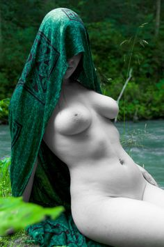 Nude art in nature female fine ART photography partial desaturation print black and white green - Green Priestess - 1