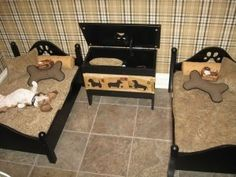 """Most well-designed """"Dog bedroom"""" I've ever seen. It's practical (tile floors for easy cleanup, chest storage box for toys and extra items), comfy (nice cushiony low beds with pillows), and stylish (plaid wallpaper, paw print headboards). I love it! Definitely want to have this for my dog(s)."""