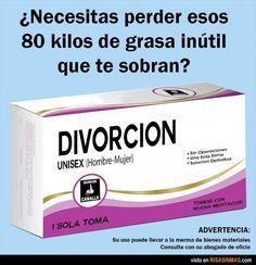 Divorción, la solución para perder la grasa que te sobra. Una sola toma.