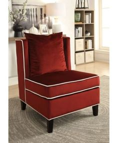 Ozella Accent Chair in Red Velvet - Acme Furniture 59572 Furniture Chair, Accent Chairs For Sale, Wingback Chair, Sitting Chair, Furniture, Acme Furniture, Mattress Furniture, Armless Accent Chair, Chair Upholstery