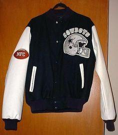 Vintage NFC Dallas Cowboys Football Starter Wool Jacket Coat Chalk Line USA