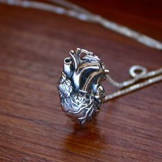 Sterling silver anatomical heart necklace   sterling by JustJaynes, $49.00