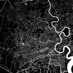 Ho Chi Min City Download PDF Map.  Highly detailed art map for infographic background. White highways, streets and water on black. Bigger bridges with... ... #download #map #stockimage #graphic #pdf #vector #citymap #city