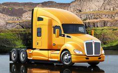 Descargar fondos de pantalla Kenworth T-680 De 2017, American truck, amarillo, camiones nuevos, entrega, Kenworth