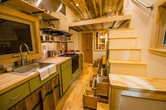 A beautiful tiny house on wheels, named Blue Moon. The home is designed and built of Mitchcraft Tiny Homes of Fort Collins, Colorado. Tiny House Storage, Small Tiny House, Tiny House Swoon, Tiny House Living, Tiny House Plans, Tiny House Design, Tiny House On Wheels, Small Homes, Little Houses
