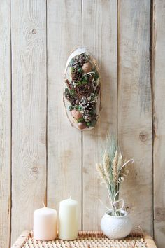Wood slice and moss wall art, natural rustic wall hanging slice decor slice art Rustic Style, Rustic Decor, Farmhouse Style, Farmhouse Decor, Dried Flower Bouquet, Dried Flowers, Wreaths For Front Door, Door Wreaths, Moss Wall Art