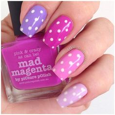 Purple, pink and white polka dot nail art