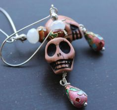 Items similar to Chocolate Brown Sugar skull Earrings with Cloisonne Teardrops on Etsy Halloween Jewelry, Chocolate Brown, Sugar Skull, Brown Sugar, Skulls, Personalized Items, Unique Jewelry, Handmade Gifts, Nice