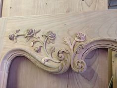 Hand carved cherry wood Boiserie door, part of Louis XV Style Boiserie library. Designed & manufactured by Auffrance.
