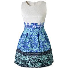 Chicwish Baroque Embossed A-line Sleeveless Dress ($43) ❤ liked on Polyvore featuring dresses, blue, round neck dress, blue dress, no sleeve dress, baroque style dress and zipper back dress