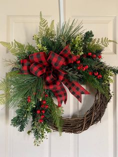 Excited to share this item from my #etsy shop: CHRISTMAS WREATHS,Christmas Wreath for Front Door, Christmas Wreath with Buffalo Plaid Bow, Evergreen Fern Eucalyptus Wreath, Winter Wreath