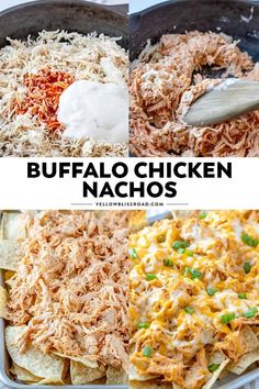 Crunchy tortilla chips are loaded with tender chicken, drenched in a spicy buffalo ranch sauce and smothered in cheese for the ultimate game day snack. These Buffalo Chicken Nachos are easy to whip up and are sure to please your hungry crowd! Pollo Buffalo, Buffalo Chicken Nachos, Buffalo Ranch, Buffalo Chicken Recipes, Chicken For Nachos, Meals With Chicken, Shredded Chicken Nachos, Shredded Chicken Recipes, Healthy Diet Recipes