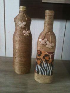 Bellas Artes : garrafas decoradas com barbante de sisal