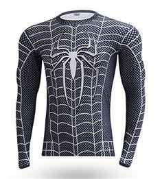 IdeaBox Mens Compression Shirt Super Hero Long Sleeve Short Sleeve Workout Fitness Shirt * Visit the image link more details.