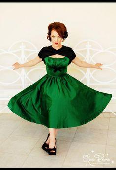 green pinup dress :  wedding Pinup Evelyn Green