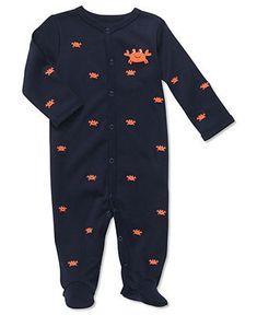 Carter's Baby Sleepwear, Baby Boys Interlock Sleep n' Play Navy Crab Schiffli Sleeper - Kids - Macy's - $9