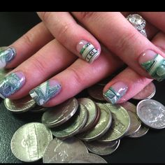 Dollar bills in my accountants gel nails. Perfect for tax time!