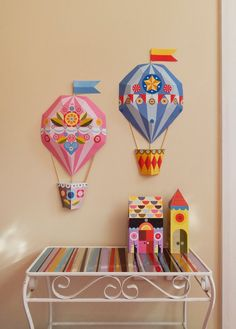 This joyful, blue stripey, geometric, 3D, Hot Air Balloon, Paper Craft was originally created using my signature paper cut technique (and a lot of trial and error!) (the pink balloon is a separate listing) It is laser printed on card that has just the right stiffness for it to sit nicely. It is made up of 3 flat printed 200 gsm paper sheets. I have included the wooden sticks. It is for you to cut and assemble yourself, I have included easy to follow instructions.  Made up, it is about 21…