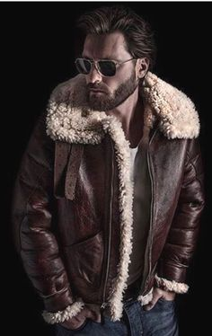 Jackets For Stylish Men. Jackets really are a crucial part of every single man's clothing collection. Men require outdoor jackets for a number of circumstances as well as some varying weather conditions. Cool Jackets For Men, Stylish Jackets, Stylish Men, Sheepskin Jacket, Look Man, Aviator Jackets, Jacket Style, Look Cool, Winter Jackets