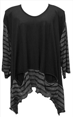 AKH Fashion Lagenlook ausgefallenes Oversize Shirt mit Zipfeln in schwarz XXL Mode bei www.modeolymp.lafeo.de