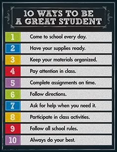 Reinforce good student character traits with this 10 Ways to be a Great Student Chart. The eye-catching, colorful chalkboard design is sure to encourage your learners to be the best students they can be! Chart measures x Classroom Behavior, Classroom Posters, Future Classroom, Highschool Classroom Rules, Classroom Ideas, 7th Grade Classroom, Classroom Pictures, Classroom Layout, Classroom Supplies