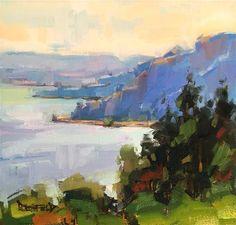 "Daily Paintworks - ""Columbia River Splendor"" - Original Fine Art for Sale - © Cathleen Rehfeld"