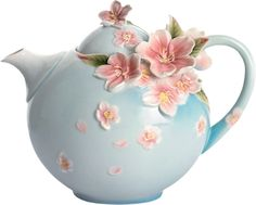 """Cherry Blossom Porcelain Teapot"" Designer ~Franz~ from the ~Kathy Ireland~ Home by Franz Collection Teapot Cake, Teapots And Cups, My Cup Of Tea, Chocolate Pots, Tea Time, Biscuit, Tea Party, Tea Cups, Tableware"