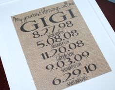 Personalized Greatest Blessings Call Me GIGI - Grandma - Nana  - 8X10 Printed Burlap - Home Decor - Grandparent Gift - Christmas by BurlapPaperSack on Etsy