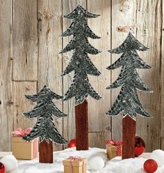 Hand-Carved Pine Trees