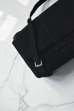 ALEX - BLACK SUEDE with Madison adjustable strap