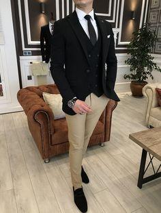 Mens Casual Suits, Dress Suits For Men, Mens Fashion Suits, Formal Suits, Men Dress, All Black Formal Outfits, Formal Men Outfit, Black Suit Wedding, Black Suit Men