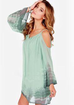 Green Gradual Change Condole Belt Irregular Off Shoulder Fashion Chiffon Dress - Mini Dresses - Dresses