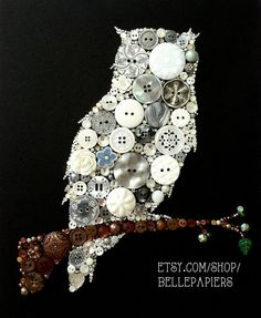 Button Art Button & Swarovski Owl Silhouette by BellePapiers Button Canvas, Button Art, Button Crafts, Diy Projects To Try, Crafts To Make, Art Projects, Arts And Crafts, Owl Wall Art, Owl Art