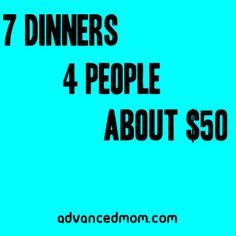 Aldi Meal Plan - 7 Dinners - Family of Four - $50 budget meal plan - (1)