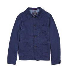 Manifattura Ceccarelli Unstructured Cotton Linen Jacket in Navy Blue