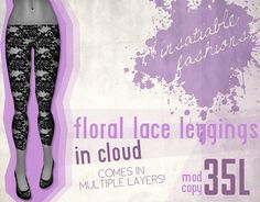 [IF] Lazy Sunday Item: Floral Lace Leggings in[IF] Lazy Sunday Item: Floral Lace Leggings in Cloud by Alianna ❤, http://maps.secondlife.com/secondlife/Woodland%20Park/59/162/21