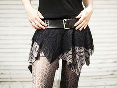 Grey Zebra Pixie Skirt punk DIY gothic black by zebraspider
