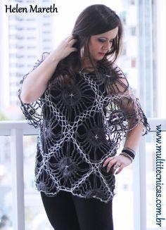 Aula da blusa em crochê de grampo no tear de grampo duplo. Programa Mulher.com www.multitecnicas.com.br tel. 11 977009617