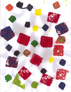 Square Sponge Stamp Art - to teach preschoolers about the square shape!
